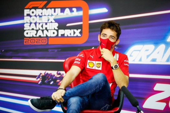 Charles Leclerc (MON) Ferrari in the FIA Press Conference. 03.12.2020. Formula 1 World Championship, Rd 16, Sakhir Grand Prix, Sakhir, Bahrain, Preparation Day. - www.xpbimages.com, EMail: requests@xpbimages.com © Copyright: FIA Pool Image for Editorial Use Only