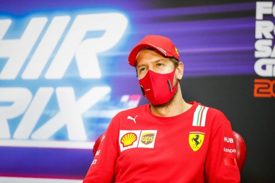 Sebastian Vettel (GER) Ferrari in the FIA Press Conference. 03.12.2020. Formula 1 World Championship, Rd 16, Sakhir Grand Prix, Sakhir, Bahrain, Preparation Day. - www.xpbimages.com, EMail: requests@xpbimages.com © Copyright: FIA Pool Image for Editorial Use Only