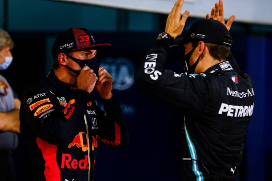 (L to R): Max Verstappen (NLD) Red Bull Racing with George Russell (GBR) Mercedes AMG F1 in qualifying parc ferme. 05.12.2020. Formula 1 World Championship, Rd 16, Sakhir Grand Prix, Sakhir, Bahrain, Qualifying Day. - www.xpbimages.com, EMail: requests@xpbimages.com © Copyright: FIA Pool Image for Editorial Use Only