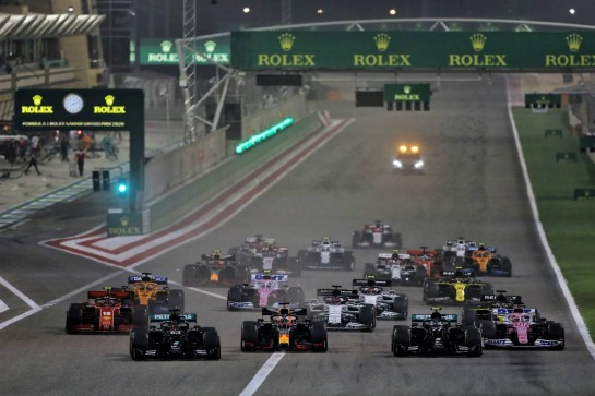 (L to R): George Russell (GBR) Mercedes AMG F1 W11, Max Verstappen (NLD) Red Bull Racing RB16, Valtteri Bottas (FIN) Mercedes AMG F1 W11, and Sergio Perez (MEX) Racing Point F1 Team RP19 at the start of the race. 06.12.2020. Formula 1 World Championship, Rd 16, Sakhir Grand Prix, Sakhir, Bahrain, Race Day. - www.xpbimages.com, EMail: requests@xpbimages.com © Copyright: Moy / XPB Images