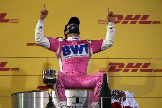 1st place Sergio Perez (MEX) Racing Point F1 Team RP19. 06.12.2020. Formula 1 World Championship, Rd 16, Sakhir Grand Prix, Sakhir, Bahrain, Race Day. - www.xpbimages.com, EMail: requests@xpbimages.com © Copyright: Batchelor / XPB Images