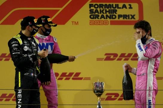 1st place Sergio Perez (MEX) Racing Point F1 Team RP19, 2nd place Esteban Ocon (FRA) Renault F1 Team RS20 and 3rd place Lance Stroll (CDN) Racing Point F1 Team RP20.06.12.2020. Formula 1 World Championship, Rd 16, Sakhir Grand Prix, Sakhir, Bahrain, Race Day.- www.xpbimages.com, EMail: requests@xpbimages.com © Copyright: Batchelor / XPB Images