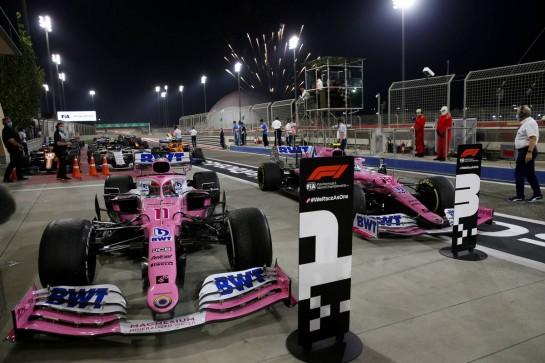 1st place Sergio Perez (MEX) Racing Point F1 Team RP19 and 3rd place Lance Stroll (CDN) Racing Point F1 Team RP20.06.12.2020. Formula 1 World Championship, Rd 16, Sakhir Grand Prix, Sakhir, Bahrain, Race Day.- www.xpbimages.com, EMail: requests@xpbimages.com © Copyright: Batchelor / XPB Images