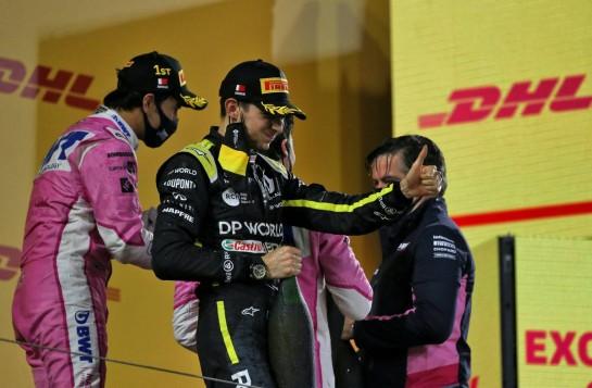 Esteban Ocon (FRA) Renault F1 Team celebrates his second position on the podium. 06.12.2020. Formula 1 World Championship, Rd 16, Sakhir Grand Prix, Sakhir, Bahrain, Race Day. - www.xpbimages.com, EMail: requests@xpbimages.com © Copyright: Moy / XPB Images