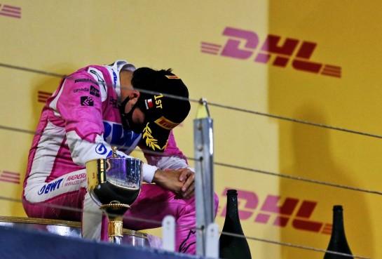 Race winner Sergio Perez (MEX) Racing Point F1 Team celebrates on the podium. 06.12.2020. Formula 1 World Championship, Rd 16, Sakhir Grand Prix, Sakhir, Bahrain, Race Day. - www.xpbimages.com, EMail: requests@xpbimages.com © Copyright: Moy / XPB Images