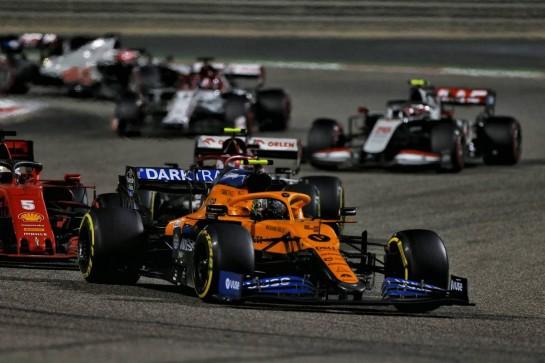 Lando Norris (GBR) McLaren MCL35. 06.12.2020. Formula 1 World Championship, Rd 16, Sakhir Grand Prix, Sakhir, Bahrain, Race Day. - www.xpbimages.com, EMail: requests@xpbimages.com © Copyright: Moy / XPB Images