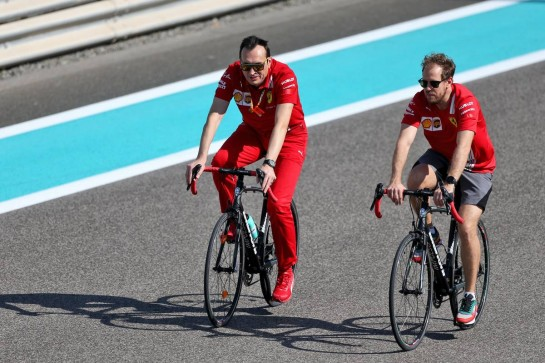 Sebastian Vettel (GER) Ferrari rides the circuit with Riccardo Adami (ITA) Ferrari Race Engineer. 10.12.2020. Formula 1 World Championship, Rd 17, Abu Dhabi Grand Prix, Yas Marina Circuit, Abu Dhabi, Preparation Day. - www.xpbimages.com, EMail: requests@xpbimages.com © Copyright: Moy / XPB Images