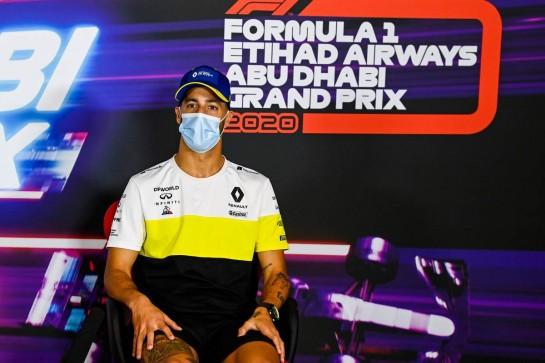 Daniel Ricciardo (AUS) Renault F1 Team in the FIA Press Conference. 10.12.2020. Formula 1 World Championship, Rd 17, Abu Dhabi Grand Prix, Yas Marina Circuit, Abu Dhabi, Preparation Day. - www.xpbimages.com, EMail: requests@xpbimages.com © Copyright: FIA Pool Image for Editorial Use Only