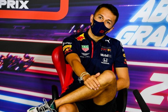 Alexander Albon (THA) Red Bull Racing in the FIA Press Conference. 10.12.2020. Formula 1 World Championship, Rd 17, Abu Dhabi Grand Prix, Yas Marina Circuit, Abu Dhabi, Preparation Day. - www.xpbimages.com, EMail: requests@xpbimages.com © Copyright: FIA Pool Image for Editorial Use Only
