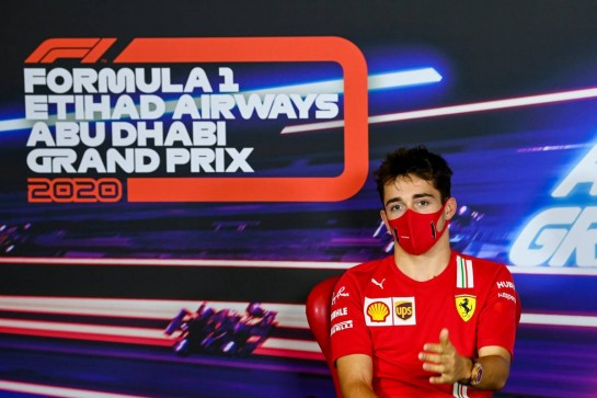 Charles Leclerc (MON) Ferrari in the FIA Press Conference. 10.12.2020. Formula 1 World Championship, Rd 17, Abu Dhabi Grand Prix, Yas Marina Circuit, Abu Dhabi, Preparation Day. - www.xpbimages.com, EMail: requests@xpbimages.com © Copyright: FIA Pool Image for Editorial Use Only