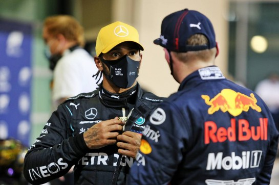 (L to R): Lewis Hamilton (GBR) Mercedes AMG F1 in qualifying parc ferme with pole sitter Max Verstappen (NLD) Red Bull Racing.