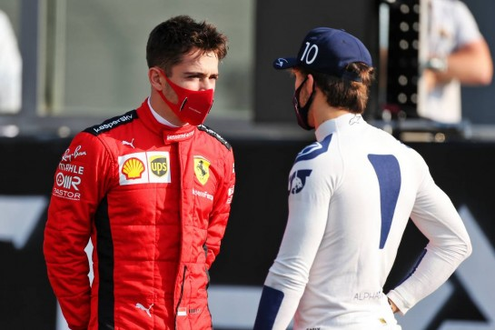 (L to R): Charles Leclerc (MON) Ferrari and Pierre Gasly (FRA) AlphaTauri. 13.12.2020. Formula 1 World Championship, Rd 17, Abu Dhabi Grand Prix, Yas Marina Circuit, Abu Dhabi, Race Day. - www.xpbimages.com, EMail: requests@xpbimages.com © Copyright: Moy / XPB Images