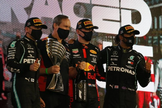 1st place Max Verstappen (NLD) Red Bull Racing RB16, 2nd place Valtteri Bottas (FIN) Mercedes AMG F1 W11, 3rd place Lewis Hamilton (GBR) Mercedes AMG F1 W11. 13.12.2020. Formula 1 World Championship, Rd 17, Abu Dhabi Grand Prix, Yas Marina Circuit, Abu Dhabi, Race Day. - www.xpbimages.com, EMail: requests@xpbimages.com © Copyright: Batchelor / XPB Images