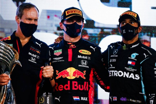 (L to R): Paul Monaghan (GBR) Red Bull Racing Chief Engineer with race winner Max Verstappen (NLD) Red Bull Racing and third placed Lewis Hamilton (GBR) Mercedes AMG F1 on the podium. 13.12.2020. Formula 1 World Championship, Rd 17, Abu Dhabi Grand Prix, Yas Marina Circuit, Abu Dhabi, Race Day. - www.xpbimages.com, EMail: requests@xpbimages.com © Copyright: FIA Pool Image for Editorial Use Only