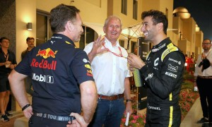 Christian Horner (GBR) Red Bull Racing Team Principal with Dr Helmut Marko (AUT) Red Bull Motorsport Consultant and Daniel Ricciardo (AUS) Renault F1 Team. 30.11.2019. Formula 1 World Championship, Rd 21, Abu Dhabi Grand Prix