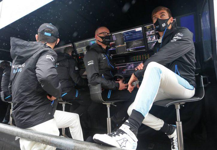 Nicholas Latifi (CDN) Williams Racing with Simon Roberts (GBR) Williams Racing F1 Acting Team Principal and George Russell (GBR) Williams Racing. 09.10.2020. Formula 1 World Championship, Rd 11, Eifel Grand Prix