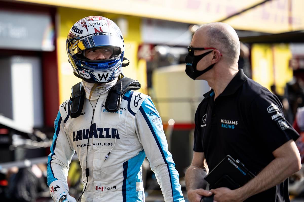 Nicholas Latifi (CDN) Williams Racing with Simon Roberts (GBR) Williams Racing F1 Acting Team Principal. 11.09.2020. Formula 1 World Championship, Rd 9, Tuscan Grand Prix