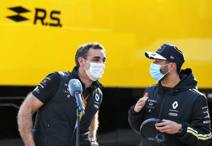 Cyril Abiteboul (FRA) Renault Sport F1 Managing Director with Daniel Ricciardo (AUS) Renault F1 Team. 24.10.2020. Formula 1 World Championship, Rd 12, Portuguese Grand Prix