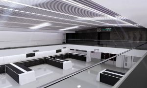 Digital image of the new race bays at Mercedes' Brackley headquarters.