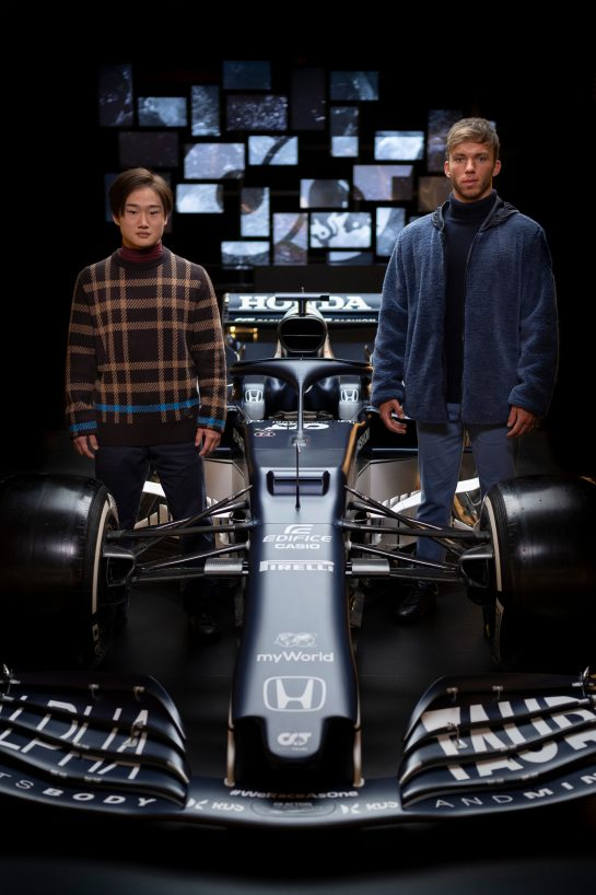 Yuki Tsunoda of Japan and Pierre Gasly of France seen during the Suderia AlphaTauri AT02 Livery Reveal 2021 - Fashion meets Formula 1 in Salzburg, Austria on February 15, 2021. // Joerg Mitter / Red Bull Content Pool // SI202102180140 // Usage for editorial use only //
