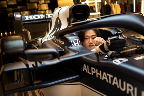 Yuki Tsunoda of Japan seen during the Suderia AlphaTauri AT02 Livery Reveal 2021 - Fashion meets Formula 1 in Salzburg, Austria on February 15, 2021. // Joerg Mitter / Red Bull Content Pool // SI202102180148 // Usage for editorial use only //