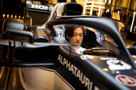 Yuki Tsunoda of Japan seen during the Suderia AlphaTauri AT02 Livery Reveal 2021 - Fashion meets Formula 1 in Salzburg, Austria on February 15, 2021. // Joerg Mitter / Red Bull Content Pool // SI202102180165 // Usage for editorial use only //