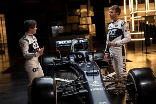 Yuki Tsunoda of Japan and Pierre Gasly of France seen during the Suderia AlphaTauri AT02 Livery Reveal 2021 - Fashion meets Formula 1 in Salzburg, Austria on February 15, 2021. // Joerg Mitter / Red Bull Content Pool // SI202102180169 // Usage for editorial use only //