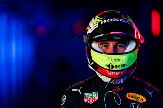 NORTHAMPTON, ENGLAND - FEBRUARY 24: Sergio Perez of Mexico and Red Bull Racing poses for a photo during the Red Bull Racing Filming Day at Silverstone on February 24, 2021 in Northampton, England. (Photo by Dan Istitene/Getty Images for Red Bull Racing) // Getty Images / Red Bull Content Pool  // SI202102240129 // Usage for editorial use only //