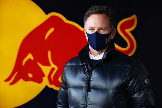 NORTHAMPTON, ENGLAND - FEBRUARY 24: Red Bull Racing Team Principal Christian Horner looks on in the garage during the Red Bull Racing Filming Day at Silverstone on February 24, 2021 in Northampton, England. (Photo by Mark Thompson/Getty Images for Red Bull Racing) // Getty Images / Red Bull Content Pool  // SI202102240178 // Usage for editorial use only //