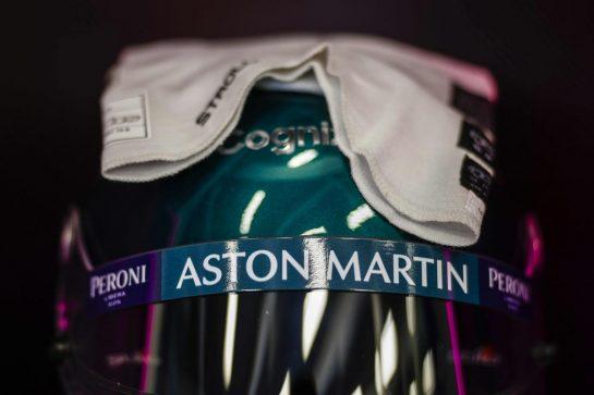 The helmet of Lance Stroll, Aston Martin