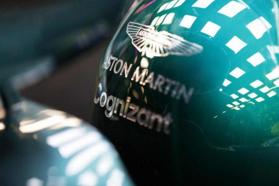 Lance Stroll, Aston Martin Helmet detail.