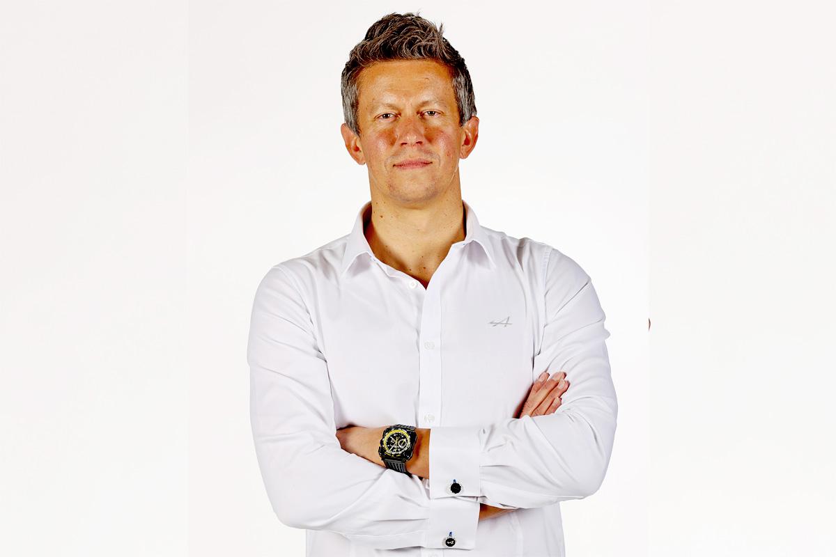 Alpine F1 executive director Marcin Budkowski at the 2021 team launch presentation.