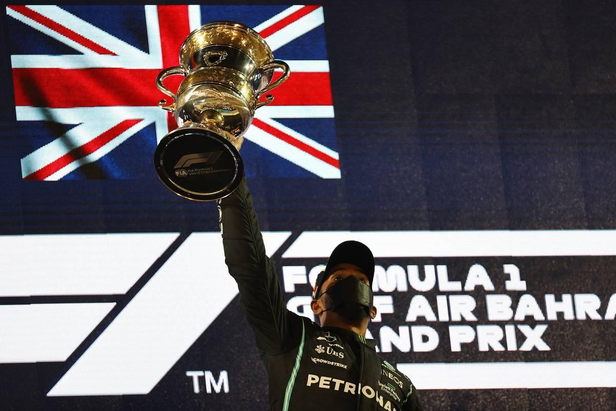 1st place Lewis Hamilton (GBR) Mercedes AMG F1 W12. 28.03.2021. Formula 1 World Championship, Rd 1, Bahrain Grand Prix