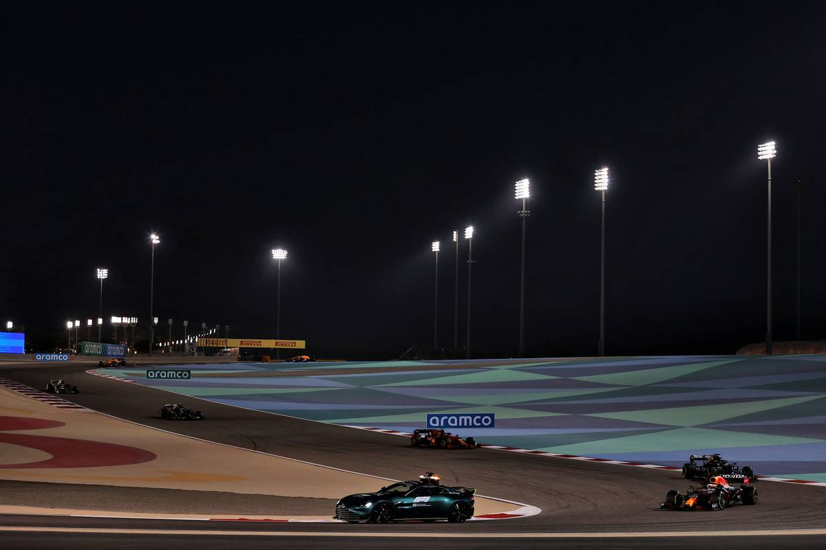 Max Verstappen (NLD) Red Bull Racing RB16B leads behind the Aston Martin FIA Safety Car. 28.03.2021. Formula 1 World Championship, Rd 1, Bahrain Grand Prix