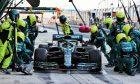 Sebastian Vettel (GER) Aston Martin F1 Team AMR21 practices a pit stop. 14.03.2021.