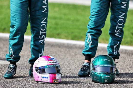 (L to R): the helmets of Sebastian Vettel (GER) Aston Martin F1 Team and Lance Stroll (CDN) Aston Martin F1 Team.  12.03.2021. Formula 1 Testing, Sakhir, Bahrain, Day One. - www.xpbimages.com, EMail: requests@xpbimages.com © Copyright: Moy / XPB Images