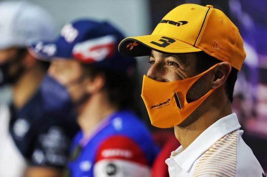 Daniel Ricciardo (AUS) McLaren in the FIA Press Conference. 12.03.2021. Formula 1 Testing, Sakhir, Bahrain, Day One. - www.xpbimages.com, EMail: requests@xpbimages.com © Copyright: Batchelor / XPB Images