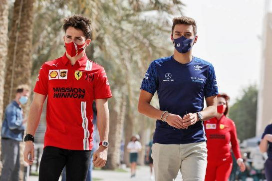(L to R): Charles Leclerc (MON) Ferrari with George Russell (GBR) Williams Racing. 13.03.2021. Formula 1 Testing, Sakhir, Bahrain, Day Two. - www.xpbimages.com, EMail: requests@xpbimages.com © Copyright: Moy / XPB Images