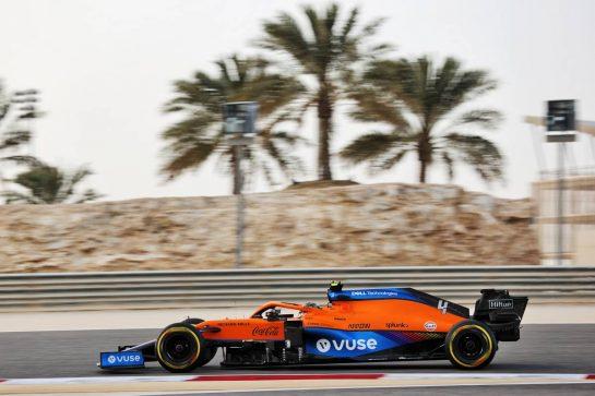 Lando Norris (GBR) McLaren MCL35M. 13.03.2021. Formula 1 Testing, Sakhir, Bahrain, Day Two. - www.xpbimages.com, EMail: requests@xpbimages.com © Copyright: Batchelor / XPB Images