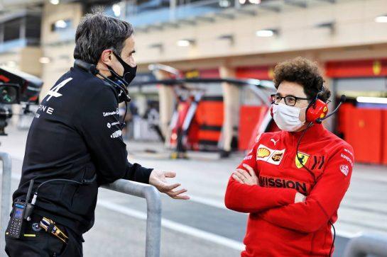 (L to R): Davide Brivio (ITA) Alpine F1 Team Racing Director with Mattia Binotto (ITA) Ferrari Team Principal. 13.03.2021. Formula 1 Testing, Sakhir, Bahrain, Day Two. - www.xpbimages.com, EMail: requests@xpbimages.com © Copyright: Moy / XPB Images
