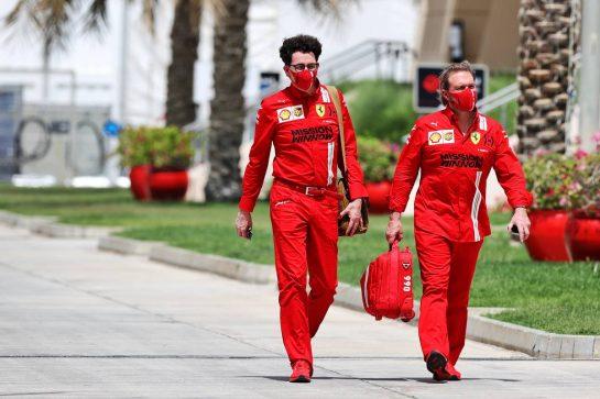 (L to R): Mattia Binotto (ITA) Ferrari Team Principal with Gino Rosato (CDN) Ferrari. 25.03.2021. Formula 1 World Championship, Rd 1, Bahrain Grand Prix, Sakhir, Bahrain, Preparation Day. - www.xpbimages.com, EMail: requests@xpbimages.com © Copyright: Moy / XPB Images