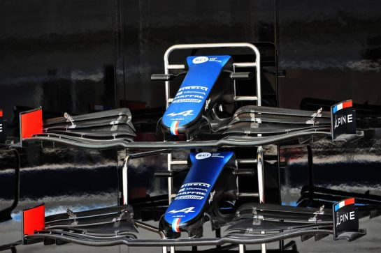 Alpine F1 Team A521 front wings. 25.03.2021. Formula 1 World Championship, Rd 1, Bahrain Grand Prix, Sakhir, Bahrain, Preparation Day. - www.xpbimages.com, EMail: requests@xpbimages.com © Copyright: Batchelor / XPB Images