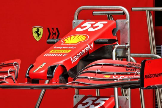 Ferrari SF-21 front wing. 25.03.2021. Formula 1 World Championship, Rd 1, Bahrain Grand Prix, Sakhir, Bahrain, Preparation Day. - www.xpbimages.com, EMail: requests@xpbimages.com © Copyright: Batchelor / XPB Images