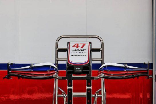 Haas VF-21 front wing. 25.03.2021. Formula 1 World Championship, Rd 1, Bahrain Grand Prix, Sakhir, Bahrain, Preparation Day. - www.xpbimages.com, EMail: requests@xpbimages.com © Copyright: Batchelor / XPB Images