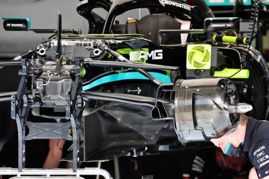 Mercedes AMG F1 W12 being prepared. 25.03.2021. Formula 1 World Championship, Rd 1, Bahrain Grand Prix, Sakhir, Bahrain, Preparation Day. - www.xpbimages.com, EMail: requests@xpbimages.com © Copyright: Batchelor / XPB Images
