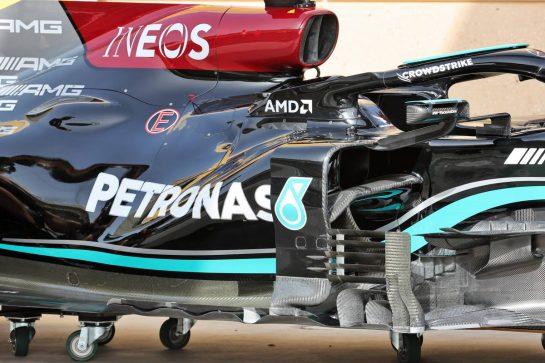 Mercedes AMG F1 W12 floor and sidepod detail. 25.03.2021. Formula 1 World Championship, Rd 1, Bahrain Grand Prix, Sakhir, Bahrain, Preparation Day. - www.xpbimages.com, EMail: requests@xpbimages.com © Copyright: Batchelor / XPB Images