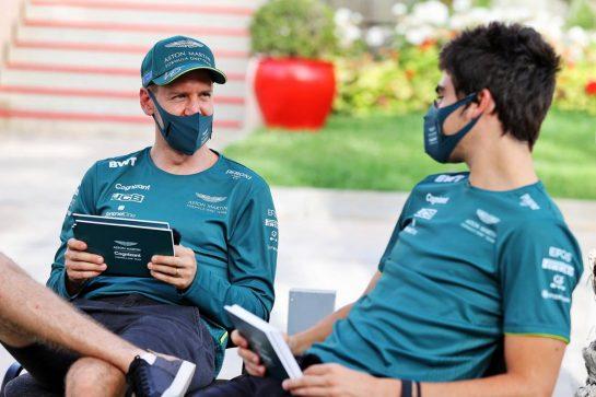 (L to R): Sebastian Vettel (GER) Aston Martin F1 Team with team mate Lance Stroll (CDN) Aston Martin F1 Team. 25.03.2021. Formula 1 World Championship, Rd 1, Bahrain Grand Prix, Sakhir, Bahrain, Preparation Day. - www.xpbimages.com, EMail: requests@xpbimages.com © Copyright: Moy / XPB Images