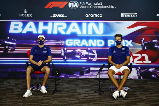 (L to R): Nicholas Latifi (CDN) Williams Racing and George Russell (GBR) Williams Racing in the FIA Press Conference. 25.03.2021. Formula 1 World Championship, Rd 1, Bahrain Grand Prix, Sakhir, Bahrain, Preparation Day. - www.xpbimages.com, EMail: requests@xpbimages.com © Copyright: FIA Pool Image for Editorial Use Only