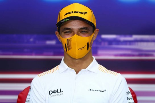 Lando Norris (GBR) McLaren in the FIA Press Conference. 25.03.2021. Formula 1 World Championship, Rd 1, Bahrain Grand Prix, Sakhir, Bahrain, Preparation Day. - www.xpbimages.com, EMail: requests@xpbimages.com © Copyright: FIA Pool Image for Editorial Use Only