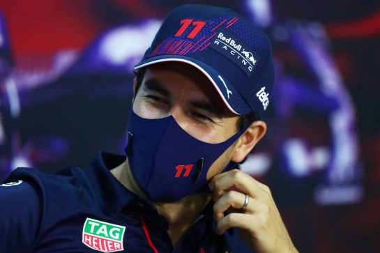 Sergio Perez (MEX) Red Bull Racing in the FIA Press Conference. 25.03.2021. Formula 1 World Championship, Rd 1, Bahrain Grand Prix, Sakhir, Bahrain, Preparation Day. - www.xpbimages.com, EMail: requests@xpbimages.com © Copyright: FIA Pool Image for Editorial Use Only
